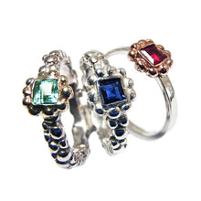 Load image into Gallery viewer, Silver Birthstone Bubble Ring