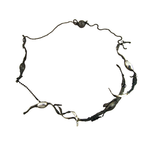 Organic Seaweed Necklace Oxidised by Charlotte Cornelius