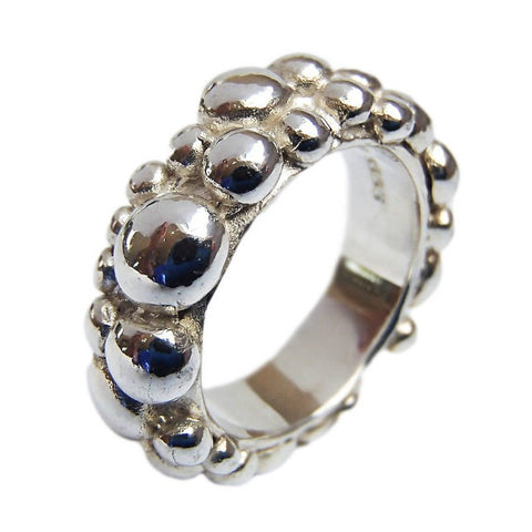 Sterling Silver Wide Bubble Band ring 6mm by Charlotte Cornelius
