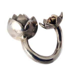Sterling Silver and 9ct Rose Gold Artichoke wrap ring Side by Charlotte Cornelius
