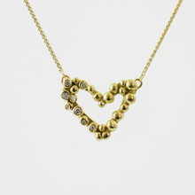 Load image into Gallery viewer, Gold Diamond Bubble Heart Necklace
