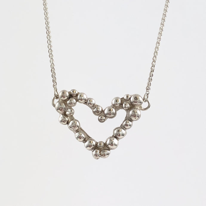 Silver Bubble Heart Necklace