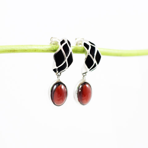 Casbah Sterling Silver and Garnet Earrings