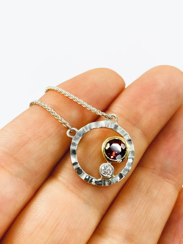 Garnet & Diamond Wave Necklace