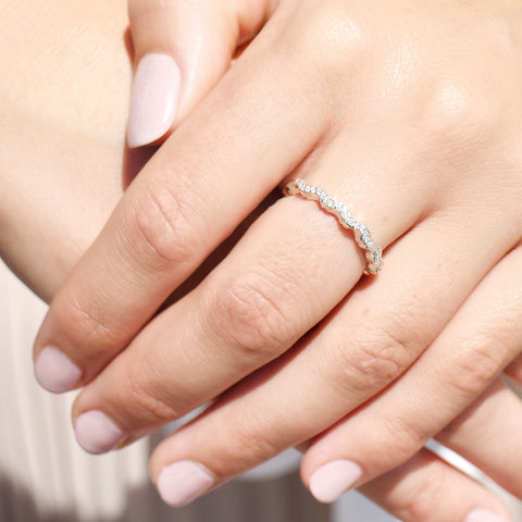Diamond Micro-Pavé Stacking Wave Ring