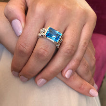 Load image into Gallery viewer, Swiss Blue Topaz Cosmopolitan Cocktail Ring