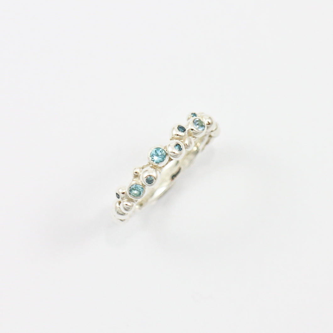 Scattered Blue Diamond & Blue Topaz Pebble Ring