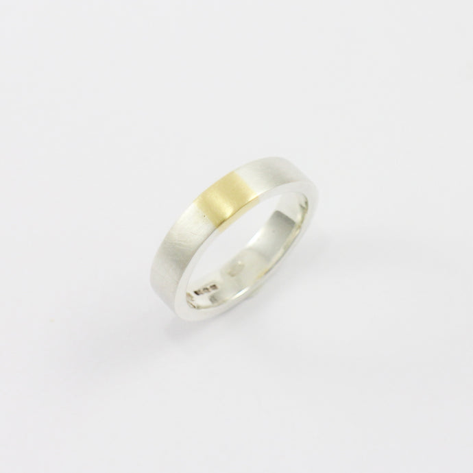 Brushed Silver & 18ct Yellow Gold Inlay Ring
