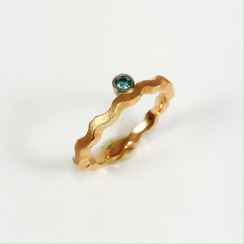Blue Diamond Wave Ring