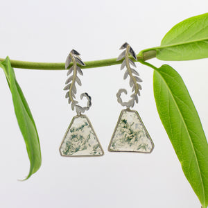 Sterling Silver Moss Agate Earrings