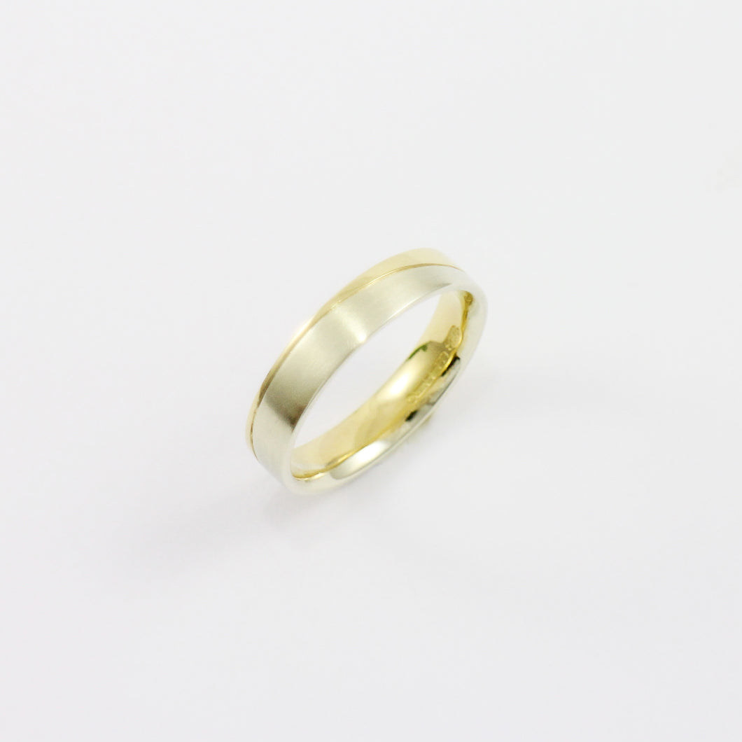 Yellow Gold & Silver Diagonal Groove Ring