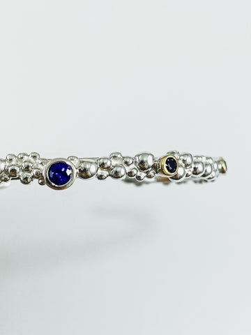 Blue Sapphire Bubble Cuff Bangle