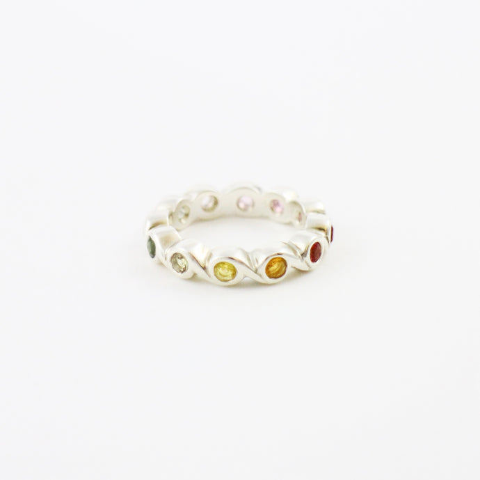 Full Eternity Ring with Rainbow Sapphires
