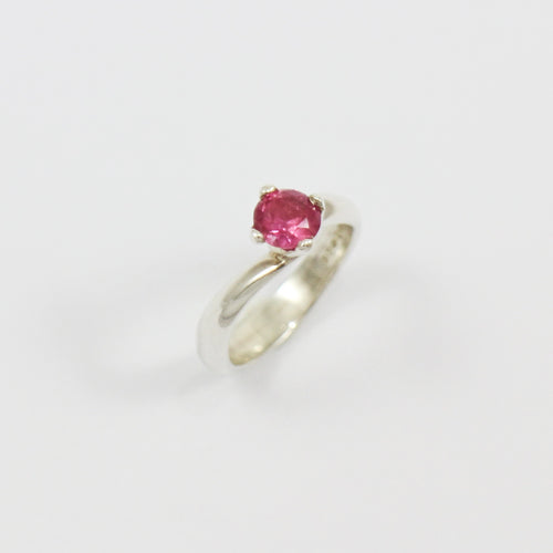 Vivid Pink Sapphire sterling silver Ring