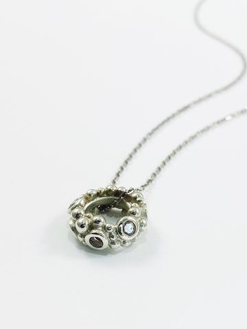 Salt & Pepper Diamond Link Pendant