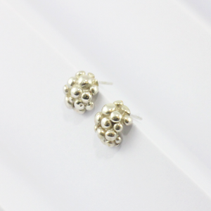 Silver Bubble Dome Earrings