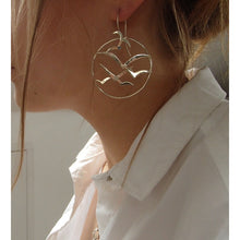 Load image into Gallery viewer, Silver Bird Flock Circle Earrings Side by Charlotte Cornelius