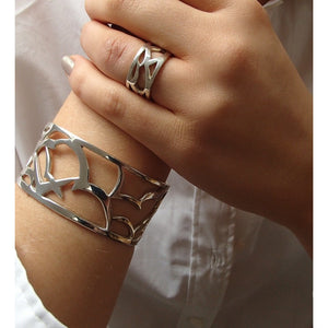 Silver Birds Cuff Bangle and Ring by Charlotte Cornelius