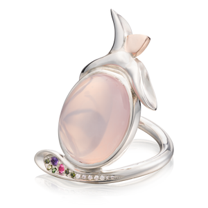 'Lylla' Cabochon Rose Quartz Cocktail Ring