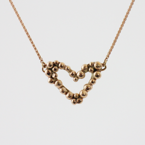 Rose Gold Pebble Heart Necklace