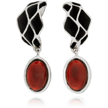 Load image into Gallery viewer, Casbah Oriel stud earrings, Sterling Silver and Garnet