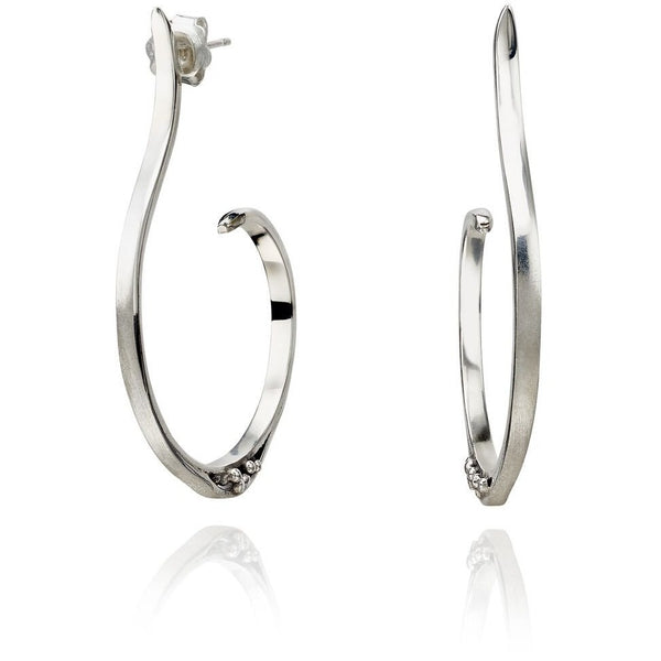 Sterling Silver Oxidised Wahoop earrings (medium)