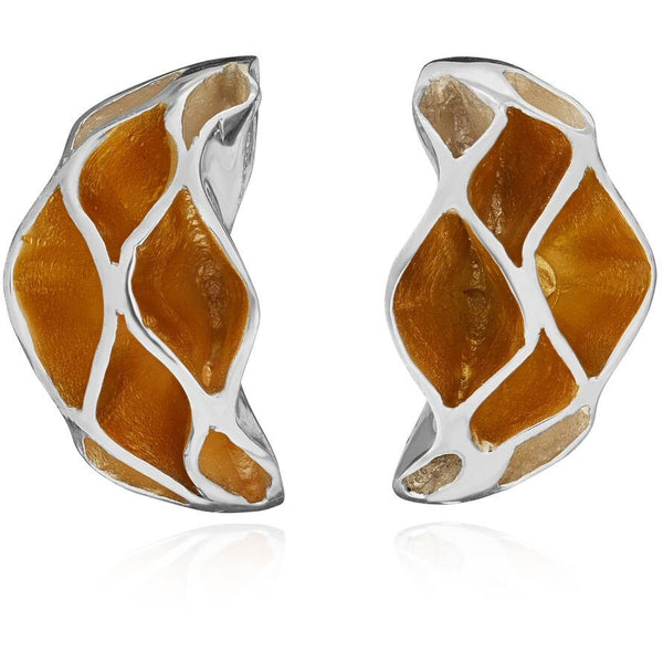 Casbah Oriel stud earrings, Sterling Silver and 18ct Yellow Gold Vermeil
