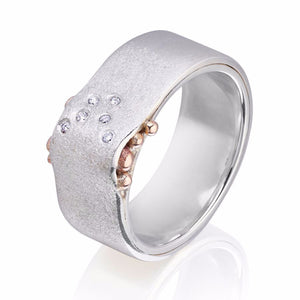 Sterling Silver with 6 Diamonds & 9ct Rose Gold Wave Ring