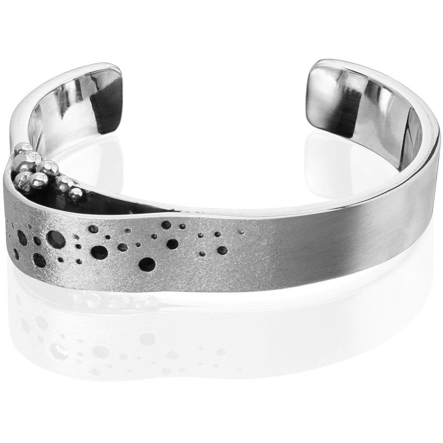 Sterling Silver Wave Oxidised Cuff Bangle