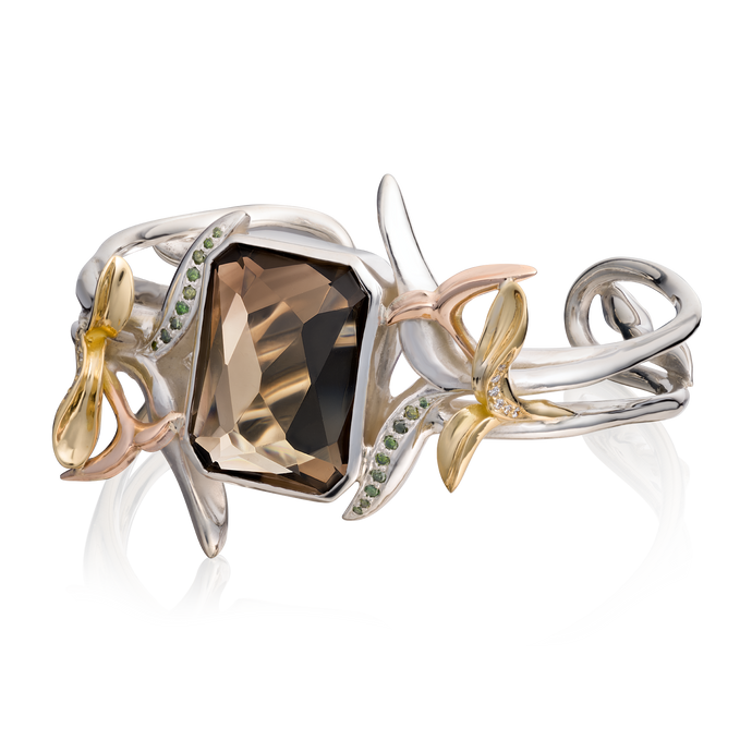 'Lylla' Octagon Cut Smoky Quartz Bangle