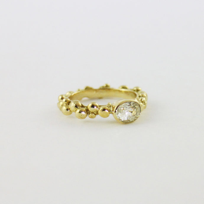 Gold Pebble Ring With Natural Yellow Oval Sapphire