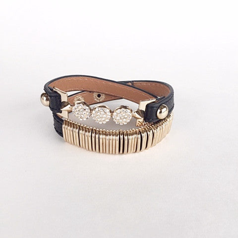 Circle Link Wrap Leather Bracelet
