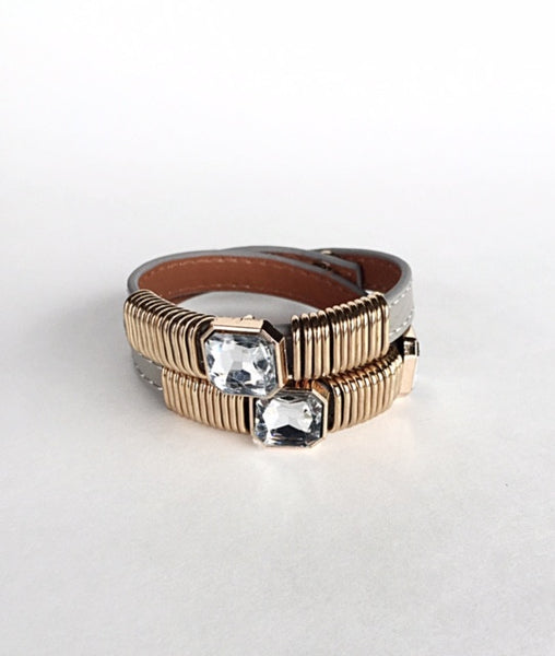 London Link Leather Wrap Bracelet