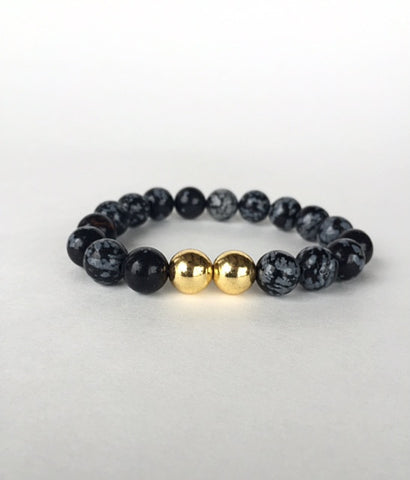 Black Bead Unisex Natural Stone Bracelet