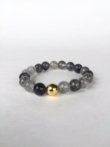 Grey Bead Unisex Natural Stone Bracelet