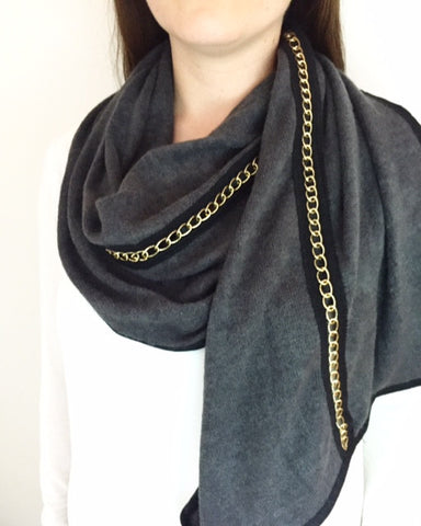Thick CHAIN Grey Scarf
