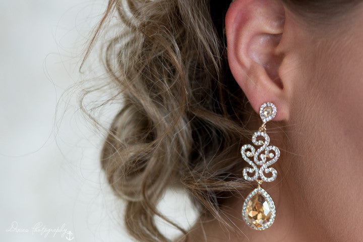 Enchanted Gold Crystal Earrings