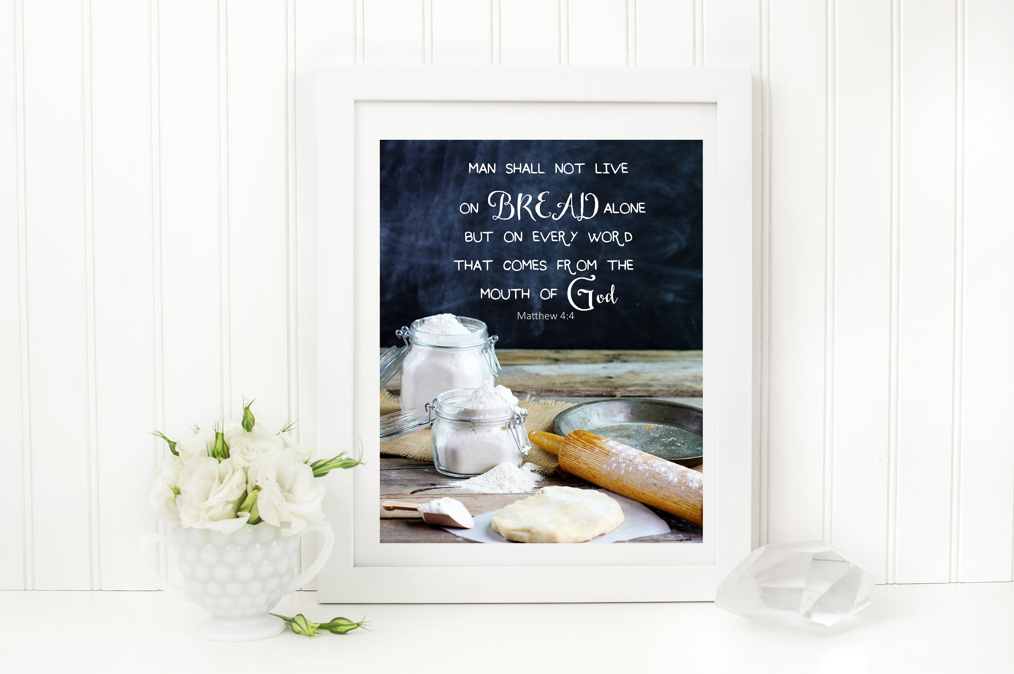 Give us this day our Daily Bread Bible Verse Matthew 6:11 Professional still life photography art of the word of God. Available in prints and canvas