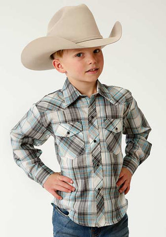 Roper Boys Teal Plaid