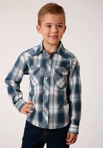 Roper Boys Navy Plaid