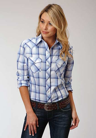 Roper Ladies Navy Blue Plaid