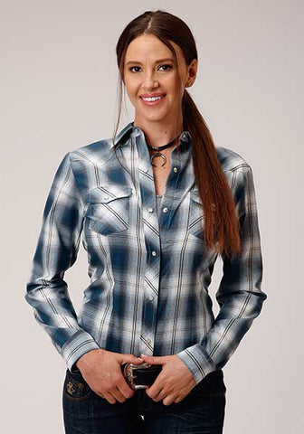 Roper Ladies Navy Plaid
