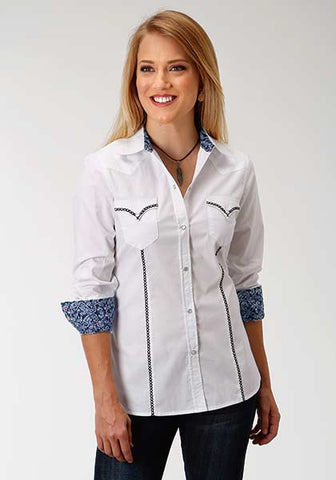 Roper Ladies White Poplin