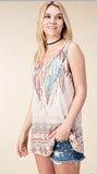 Vocal Sleeveless Feather Print