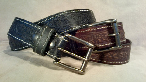 Mens Blk Tooled Stitched