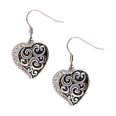 Earrings Filigre & CZ Heart