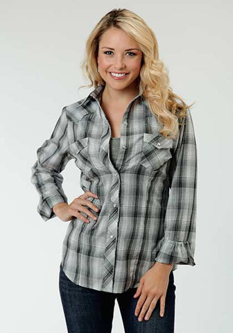 Roper Ladies Grey Plaid