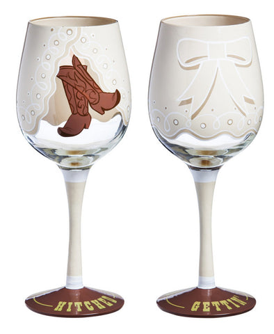 Gettin' Hitched Wine Glass
