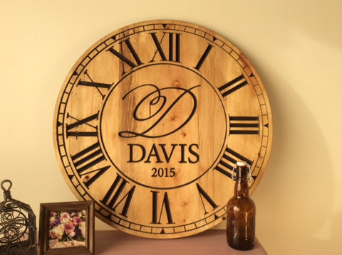 oversized wall clock made from pallet wood