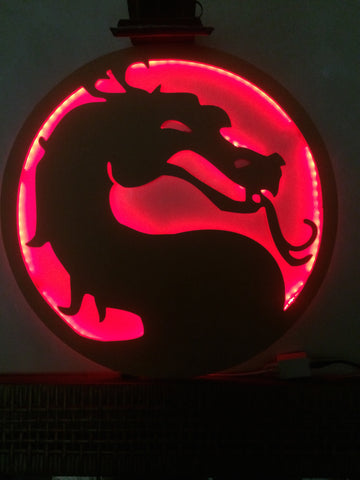 mortal kombat silhouette with backlit red glow